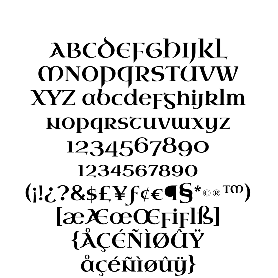 Uncial Antiqua Pro sample character set