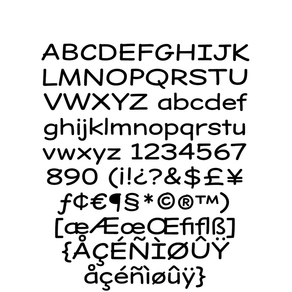 Dear Sans Expanded-Regular Character Set sample