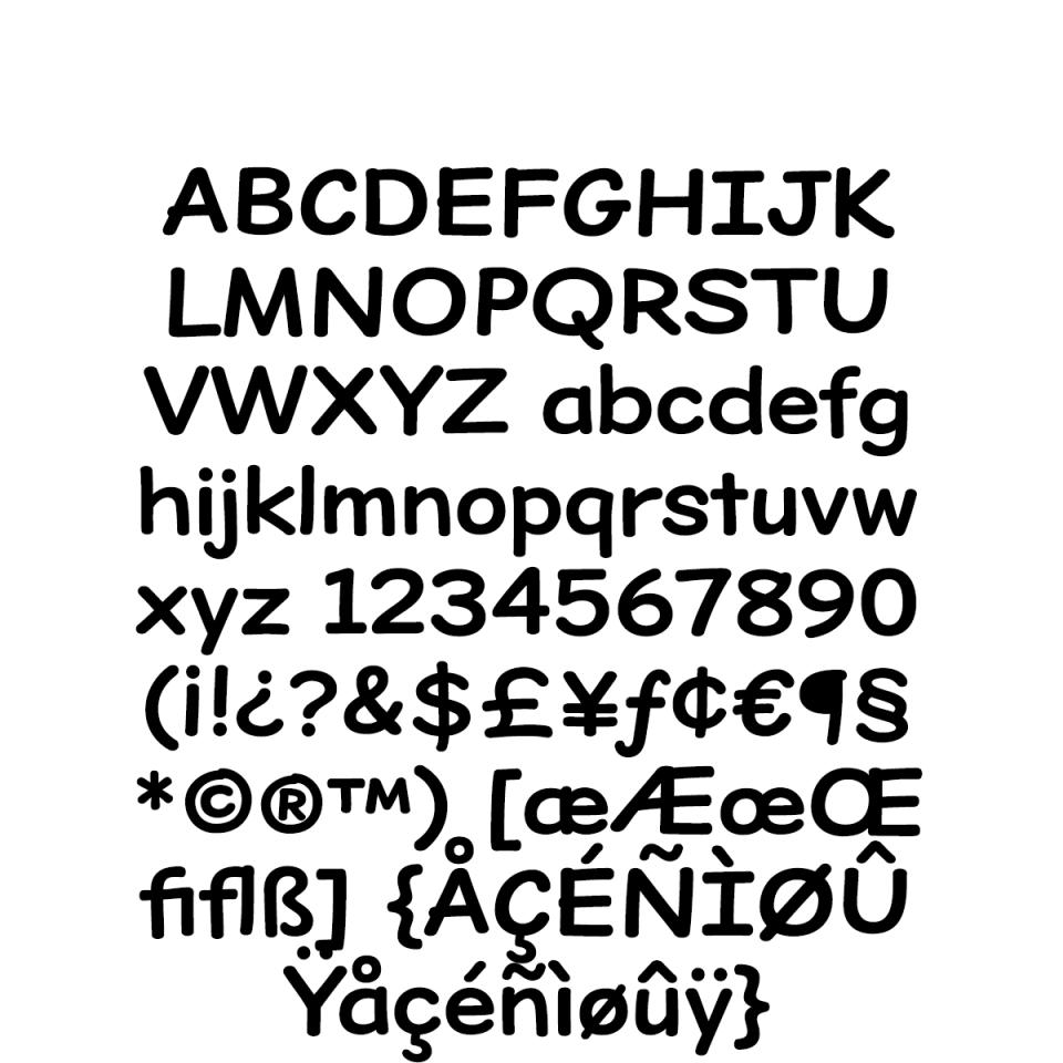 Dear Sans-Bold Character Set sample