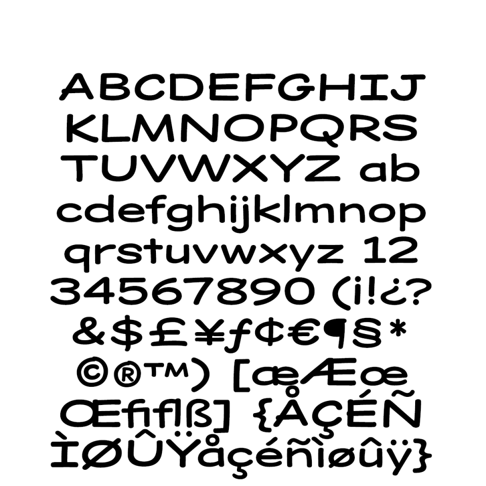 Dear Sans Wide-Bold Character Set sample