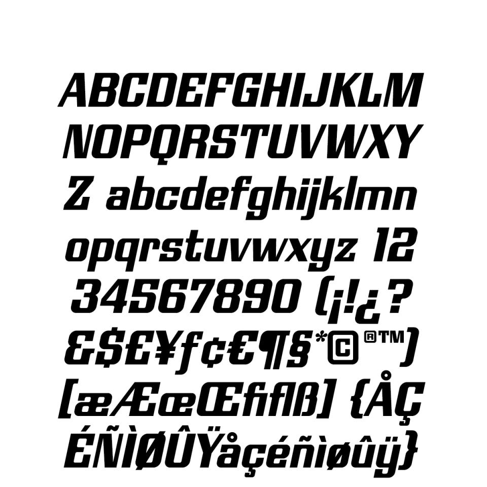 Modulate Oblique Character Set sample