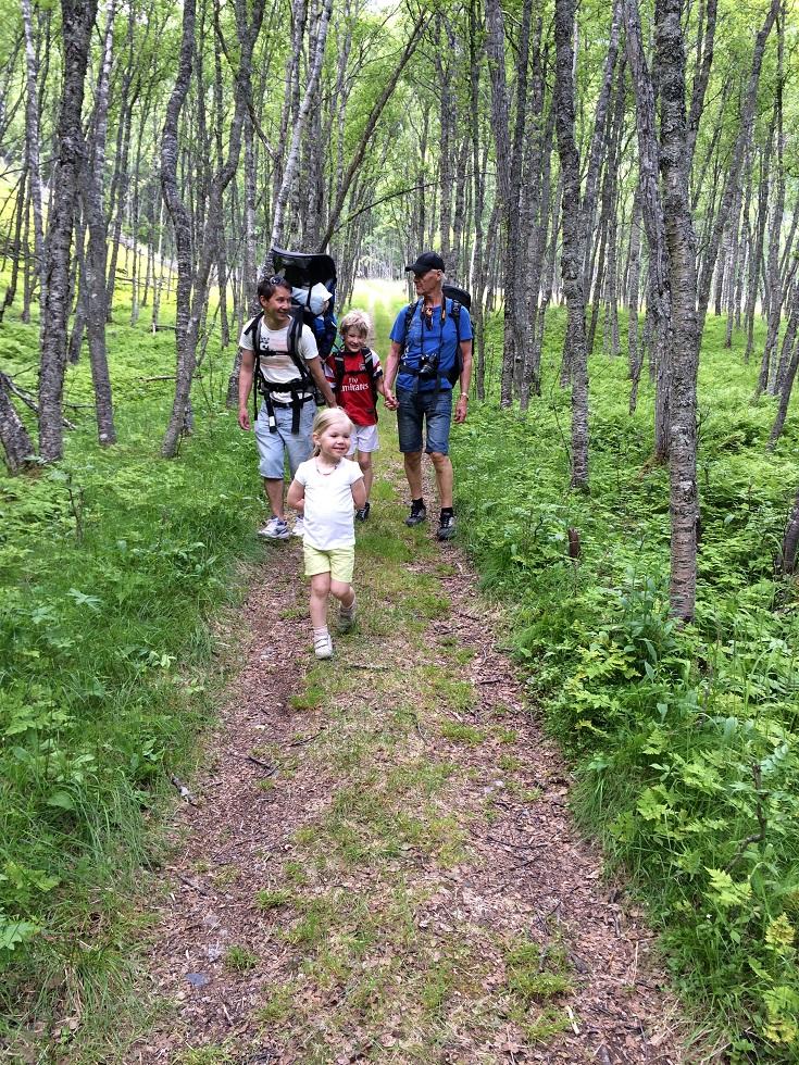Voksne og barn går tur i skogkledt terreng på Rallarveien i Narvik