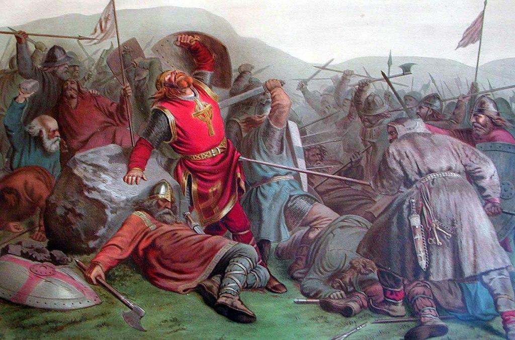 Berømt maleri som viser Olav den Hellige som faller i slaget på Stiklestad 1030.