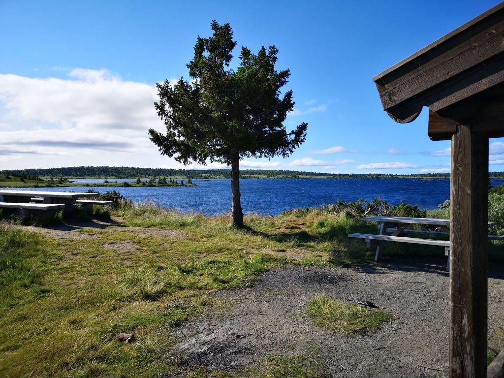 Benker og bord ved vann på Øyerfjellet