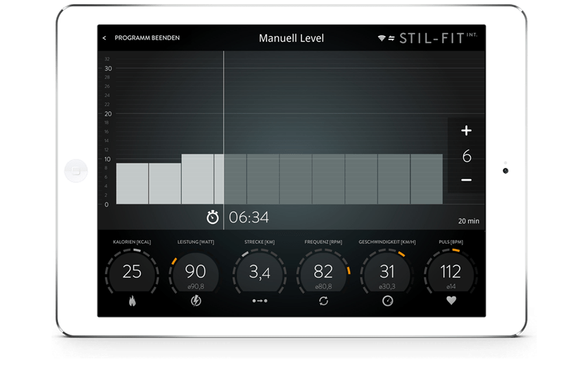 STIL-FIT International App Trainingsscreen