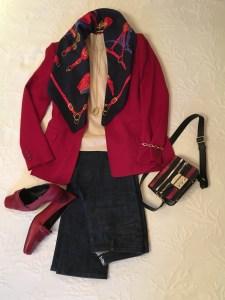 Roter Hosenanzug 6 x kombiniert mit Jeans und Seidentuch