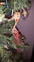 German glass, tinsel, ornaments, Christmas, stiletto, gold, red