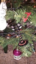German glass, tinsel, ornaments, Christmas, martini, black, penguins