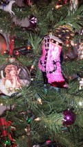 German glass, tinsel, ornaments, Christmas, cowboy boot, pink