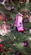 German glass, tinsel, ornaments, Christmas, cowboy boot, pink