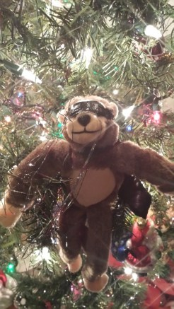 George the Monkey, tinsel, Helper Elm, Christmas,
