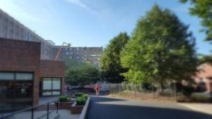 park, Monday, Boston College, S.A. Young, sky, blue, architecture, demolition
