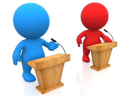 debate, election, red, blue, Monday, S.A. Young