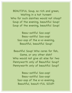 Beautiful Soup, Lewis Carroll, Broccoli Cheddar, Monday, blogging, S.A. Young