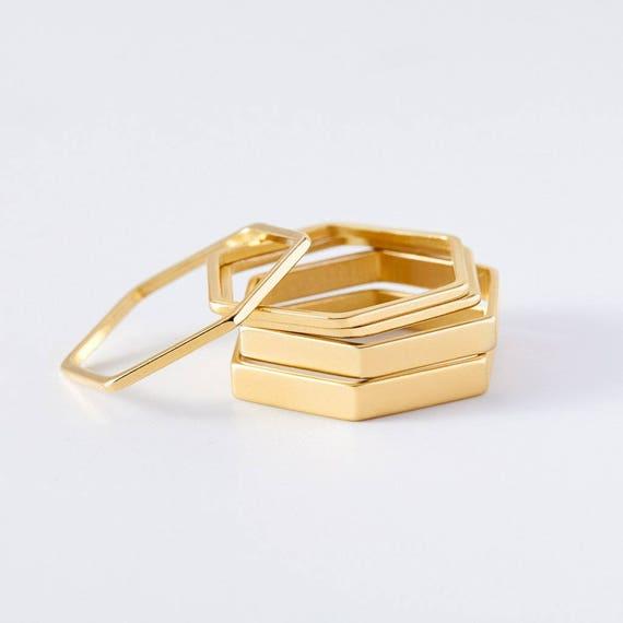 gouden honingraat stapelbare stapelringen voor dames van BeehiveHandmadeLLC