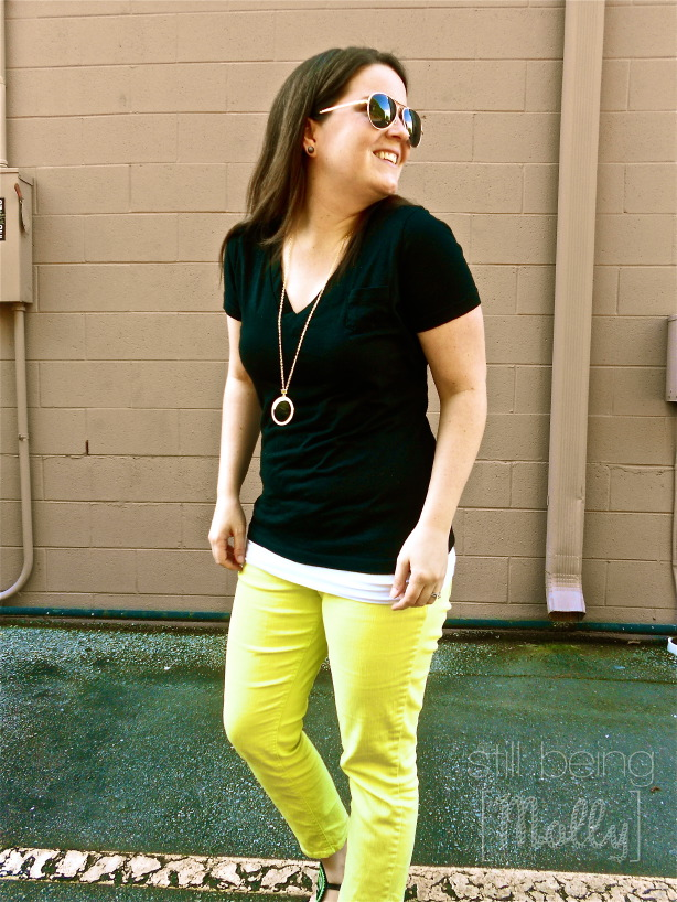 Lime Jeans, Black T-Shirt - North Carolina Fashion Blogger - still being [molly]