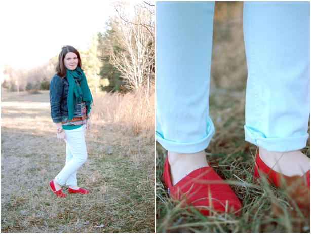 still being molly: 12 Week Maternity Style - mint jeans, denim jacket, patterned blouse, emerald scarf, red TOMS