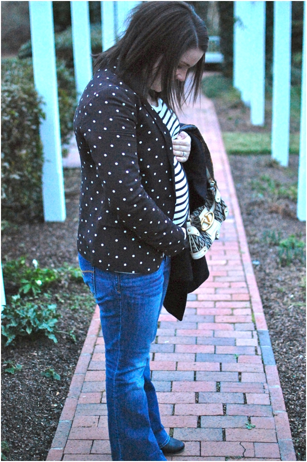 still being molly - maternity fashion: striped tee and polka dot blazer