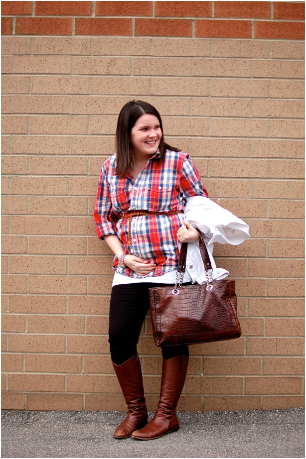 still being molly - maternity style: men's button-up shirt, belt, leggings, riding boots