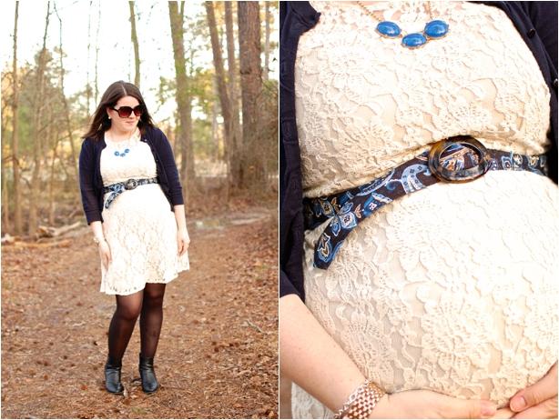still being molly maternity style: lace dress, navy cardigan, vera bradley belt