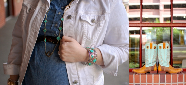 still being molly maternity style: mint jeans, mint cowboy boots, chambray tunic, white denim jacket