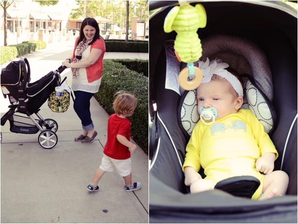New mom style - cardigan, crochet tank, World Market Scarf
