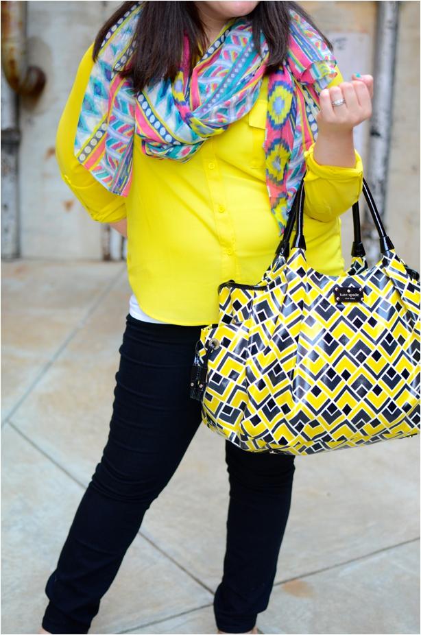 Fall Fashion | Yellow blouse, black jeans, tribal scarf, Kate Spade diaper bag