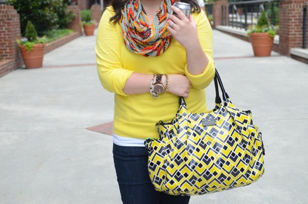 Casual Fall Fashion - Yellow tippi sweater, tribal ikat infinity scarf