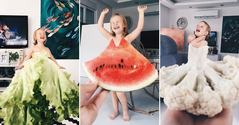 Creative Mom and Daughter Create Dresses with Flowers, Food and Forced Perspective