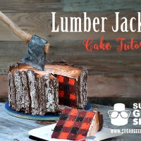 A Custom Made Lumberjack Tree Trunk Cake With an Edible Axe