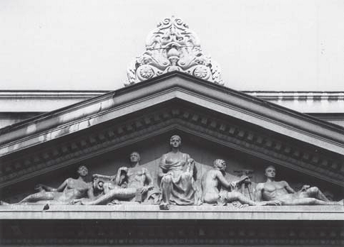 "Tympanum with composition of ""Architectural technique"" (photo: S. Negovanovic, collaborator of the Institute)"