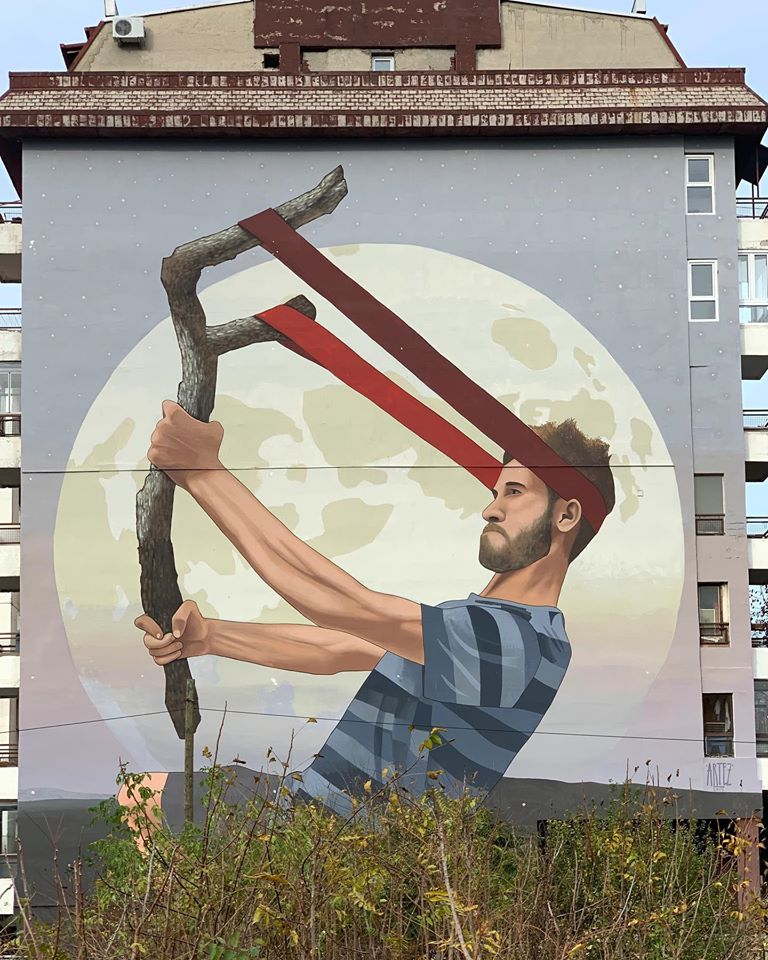 aim for the stars mural