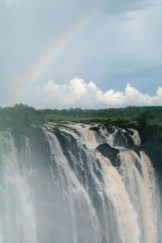 The Falls drop off the edge of the earth, accompanied by a lovely rainbow...
