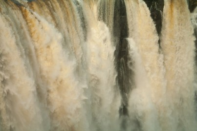 The center section of the falls is stained with iron residue.