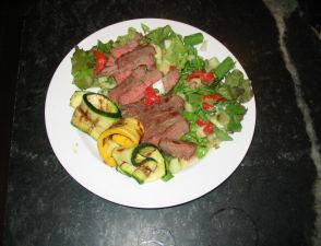 picture of steak salad and zuchini ribbons