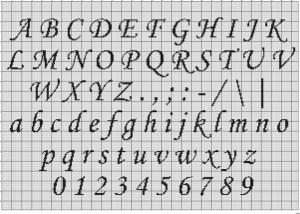 Cross Stitch Alphabet Corsiva