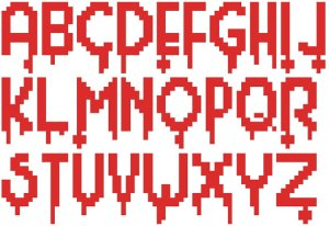Cross Stitch Alphabet Bloody