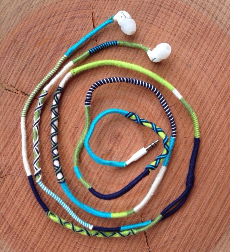Embroidery Floss Wrapped Headphones
