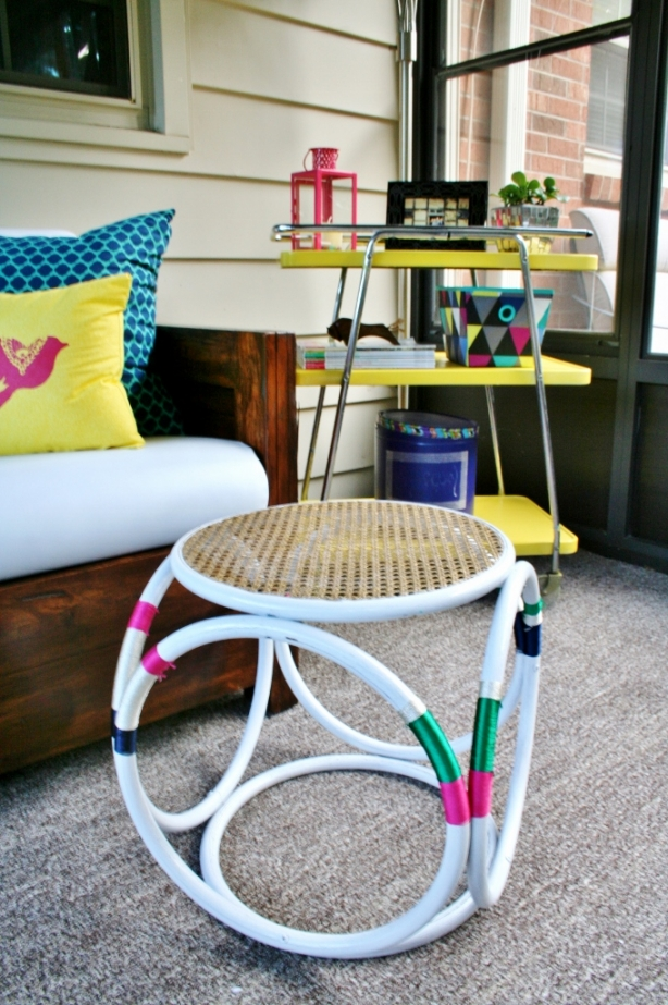 Embroidery Floss Wrapped Stool