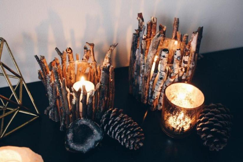 Wood Crafts Twig Candle