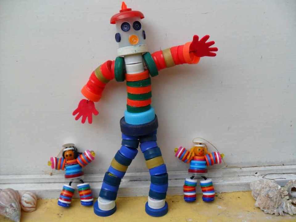 Crafts for Bottles Cap Puppets