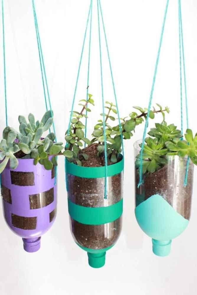 Crafts for Bottles Hanging Planters