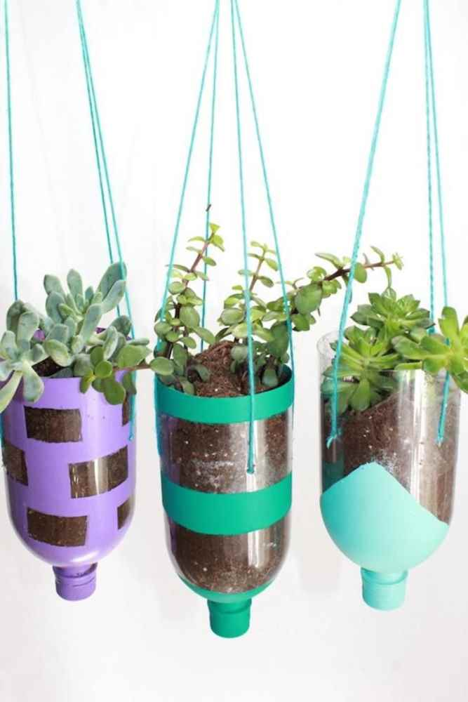 Crafts for Bottles Hanging Planters