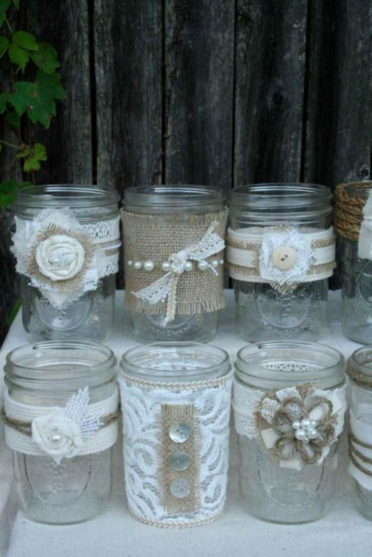 Crafts for Mason Jars with Lace