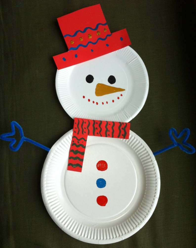 Crafts for Winter Paper Plate Snowman