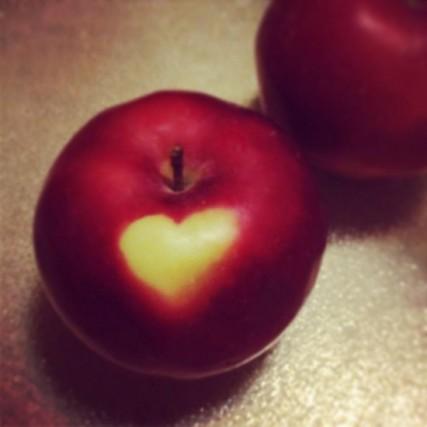 Heart shape on an apple.