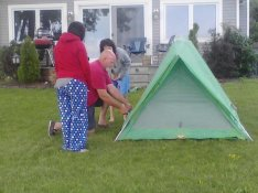 Happy - To see Mike teach the girls basic fundamentals of camping