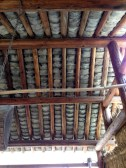 Roof tiles in his working area