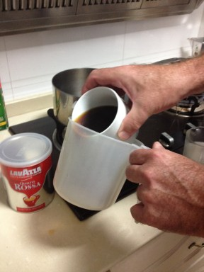 Pour the coffee into a small pitcher