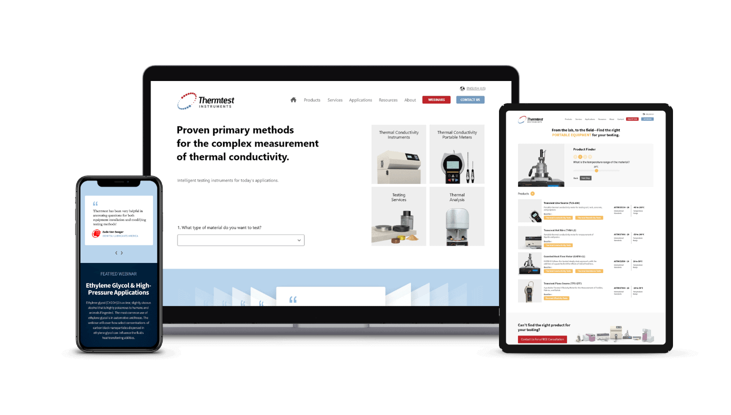 Thermtest Website Redesign